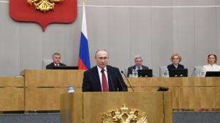 俄羅斯總統普京2020年3月10日在國家杜馬發表講話
