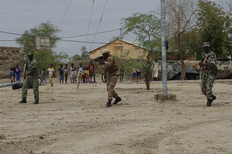 Militaires maliens à l'entraînement.