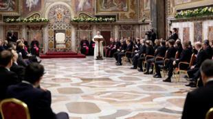 O Papa dirigiu-se aos 27 no Vaticano neste 24 Março de 2017.