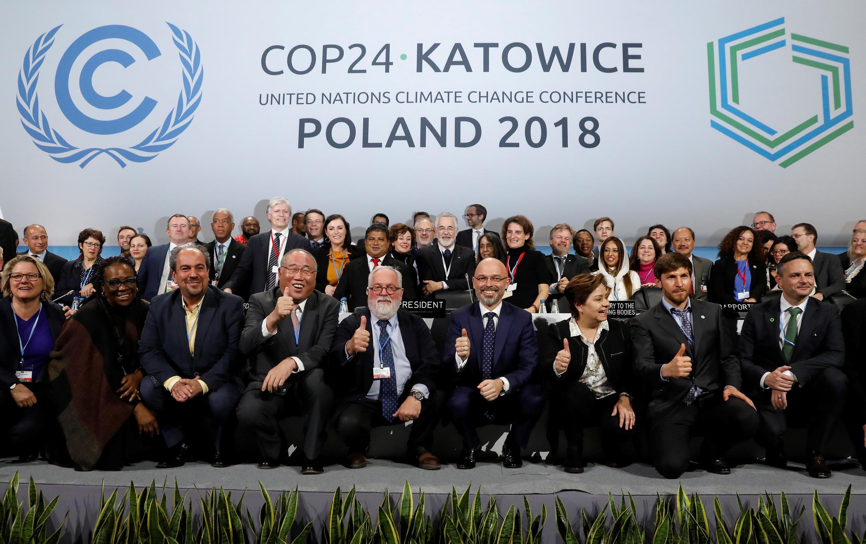 Os chefes das delegações que participaram da cerimônia de encerramento da COP 24 realizada em Katowice, na Polônia.