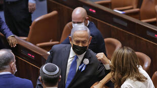 El primer ministro israelí, Benjamin Netanyahu, el 6 de abril de 2021 en el parlamento en Jerusalén