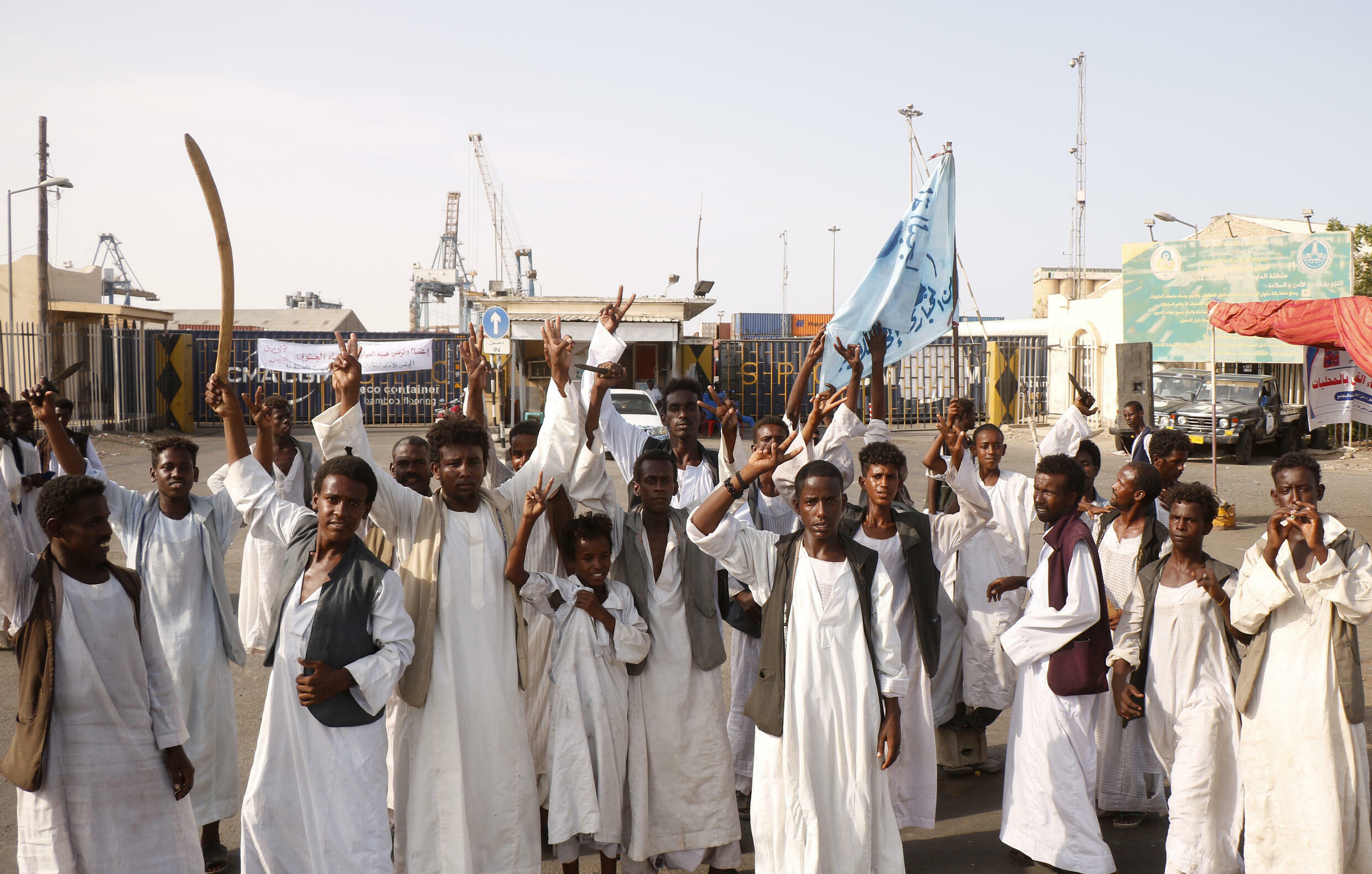 Sudanese protesters have blocked access to the country's main seaport in Port Sudan in protest against a deal between rebel groups and the government they say does not represent them