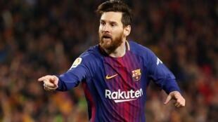 Mshambuliaji wa FC Barcelona, Lionel Messi akishangilia moja ya magoli aliyofunga katika moja ya mechi za ligi kuu ya Uhispania.