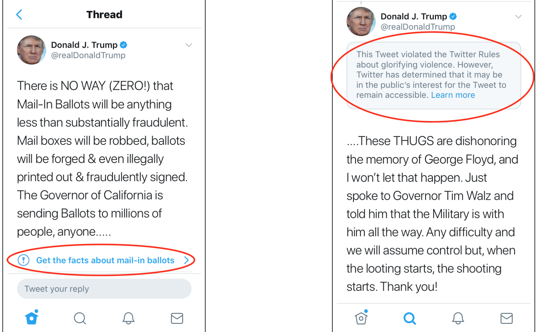 "Twitter and Trump at loggerheads: the first tweet is from 26 May 2020, red encircled is a link, in blue, inserted by Twitter that corrects Trumps' claims. On the right, a remark by Twitter says Trump ""violated the Twitter rules on glorifying violence,"" but that the tweet will remain in place as it ""may be in the public's interest."""