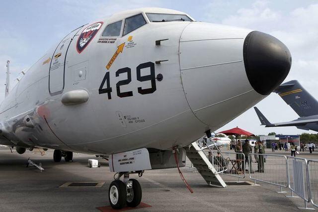 Chiến đấu cơ P8 Poseidon của Hải quân Hoa Kỳ được trưng bày tại Triển lãm Hàng không Singapore, ngày 11/02/2014.