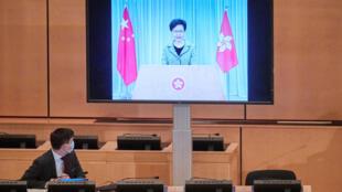 香港特首林郑月娥参加联合国人权理事会会议资料图片