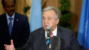 O secretário-geral da ONU, António Guterres hoje na Somália.