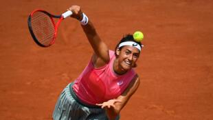 Caroline Garcia face à la Slovène Polona Hercog au 2e tour du tournoi de Roland-Garros, le 2 juin 2021