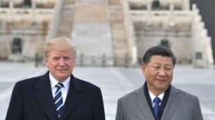 Tổng thống Donald Trump (trái) và chủ tịch Tập Cận Bình tại Bắc Kinh. Ảnh tháng 11/2017.
