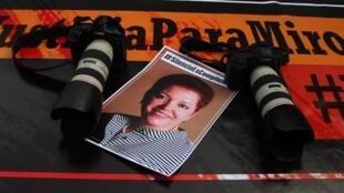 Photo prise lors d'une manifestation de journalistes pour marquer le deuxième anniversaire du meurtre de la collègue mexicaine Miroslava Breach, devant le siège du gouvernement de l'État à Ciudad Juarez, État de Chihuahua, Mexique, le 23 mars 2019.