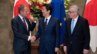 European leaders Donald Tust and Jean-Claude Juncker meet with Japanese Prime Minister Shinzo Abe