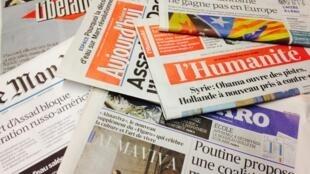 Primeira páginas dos diários franceses de 29/09/2015