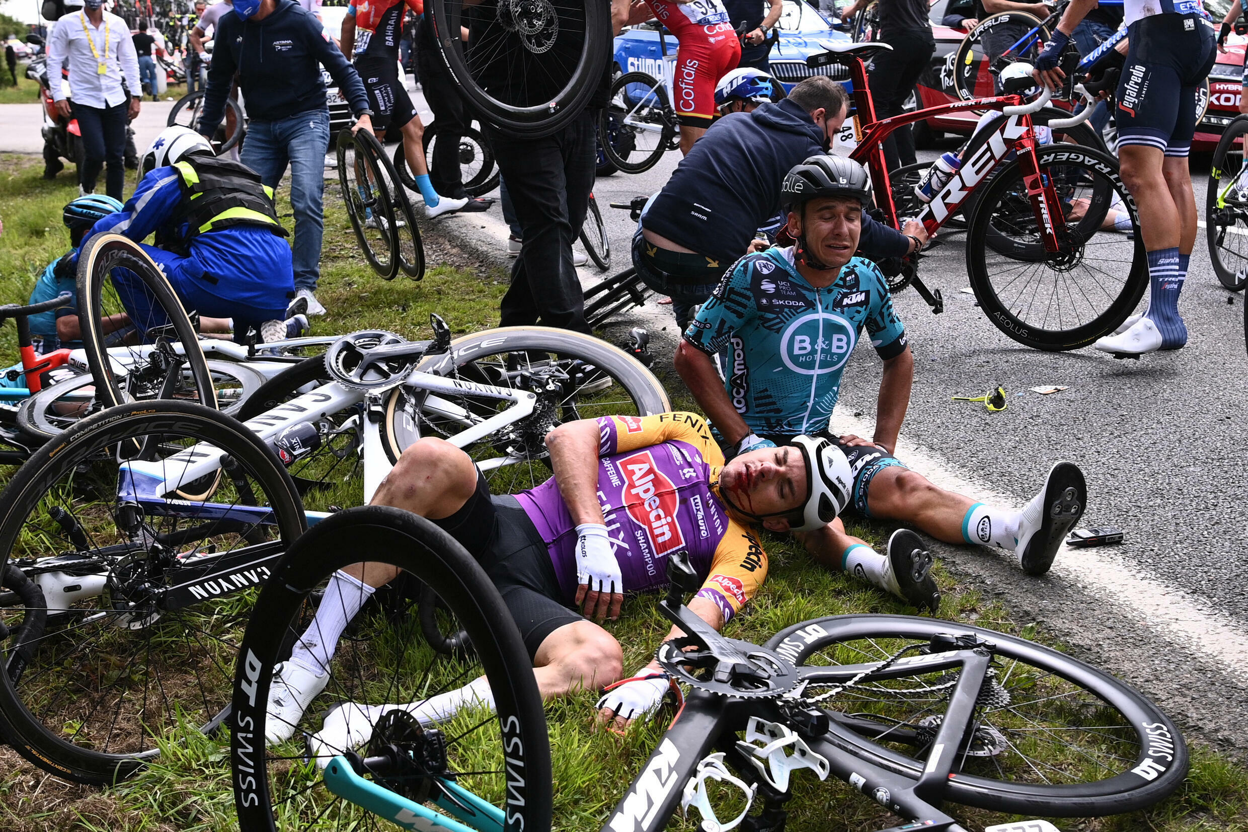 The spectator whose sign caused the crash on stage one of the Tour de France has been arrested