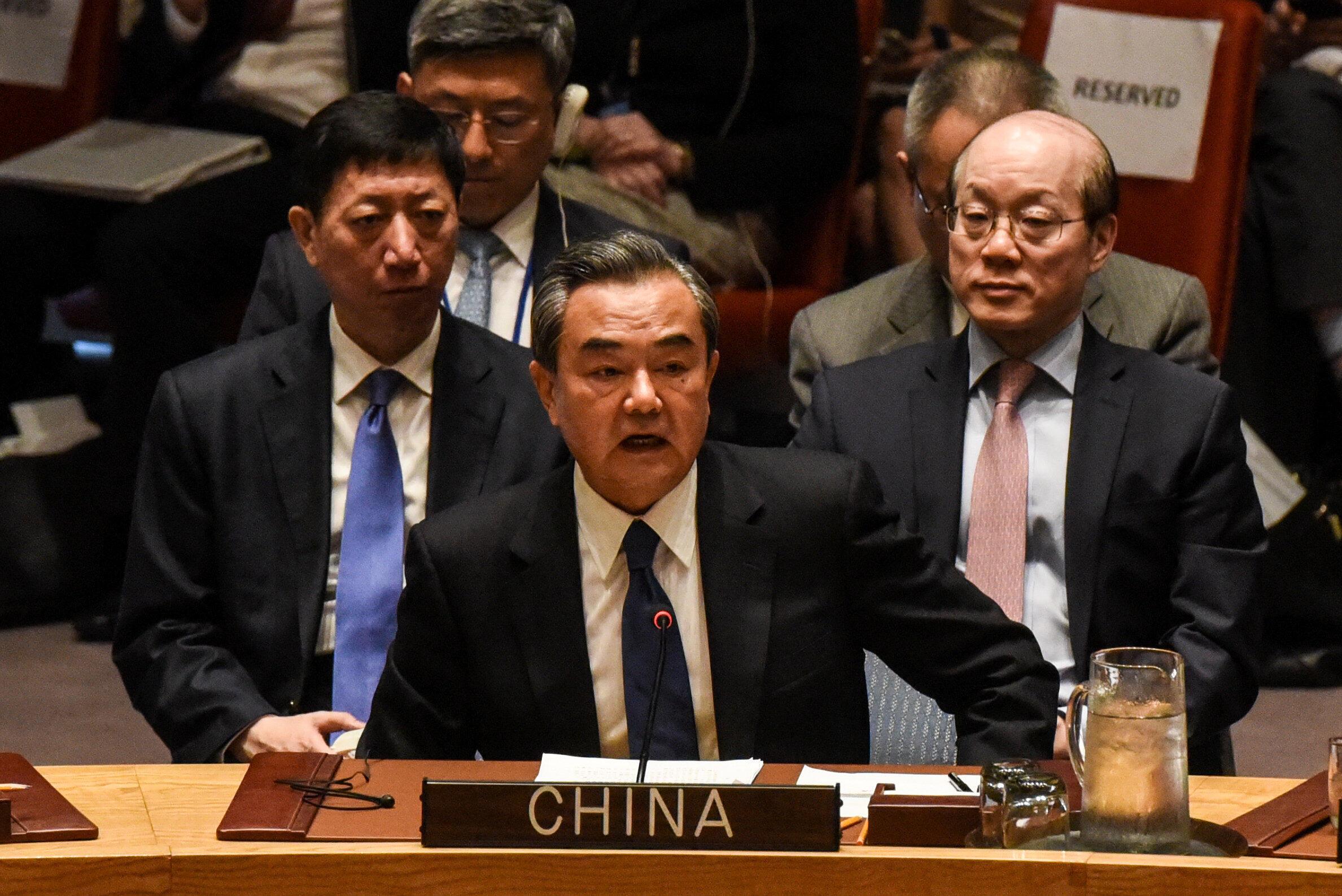 Ngoại trưởng Trung Quốc Vương Nghị (Wang Yi) phát biểu tại Hội Đồng Bảo An Liên Hiệp Quốc về hồ sơ Bắc Triều Tiên ngày 28/04/2017.