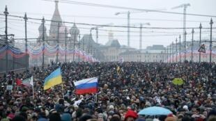 Marcha em homenagem a Boris Nemtsov, um dos líderes da oposição russa, assassinado na última sexta-feira ao lado do Kremlin.
