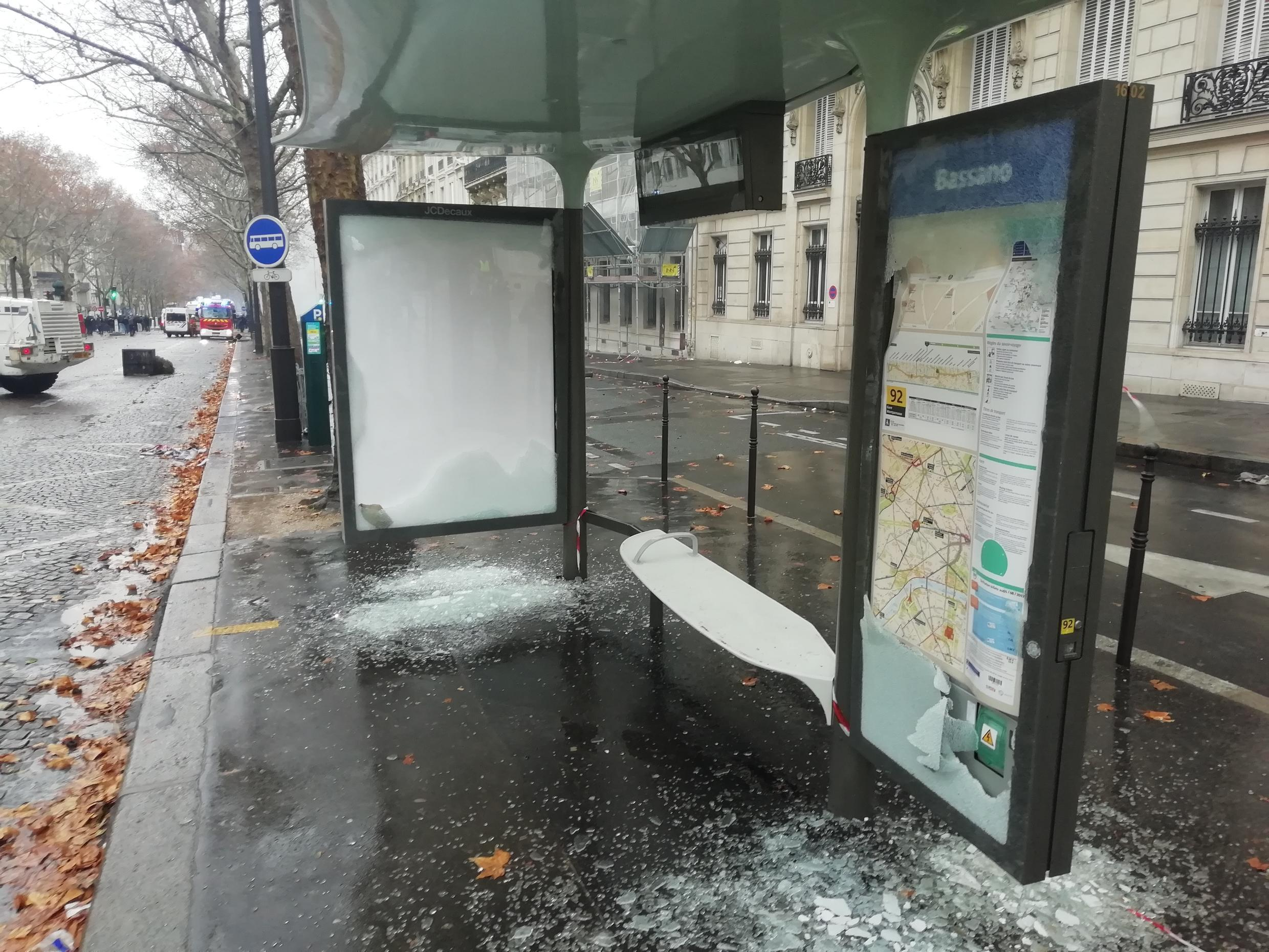 Several bus stops were obliterated with all glass panes smashed.