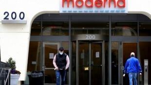 Le siège de l'entreprise Moderna à Cambridge, dans le Massachusetts, le 8 mai 2020.