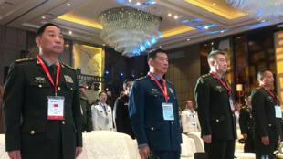 资料图片:中央军委后勤保障部部长宋普选(左一)及同僚2018年9月17日在西安参加活动。