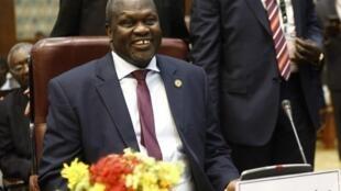 Kiongozi wa waasi Sudan kusini Riek Machar wakati wa mazungumzo ya amani Addis Abeba 2019.