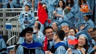 美國哥倫比亞大學的中國畢業生資料圖片