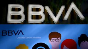 Un cartel del Banco Bilbao Vizcaya Argentaria (BBVA) fotografiado en Madrid el 4 de septiembre de 2020