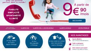 La page d'accueil du site internet Tel4Expat.