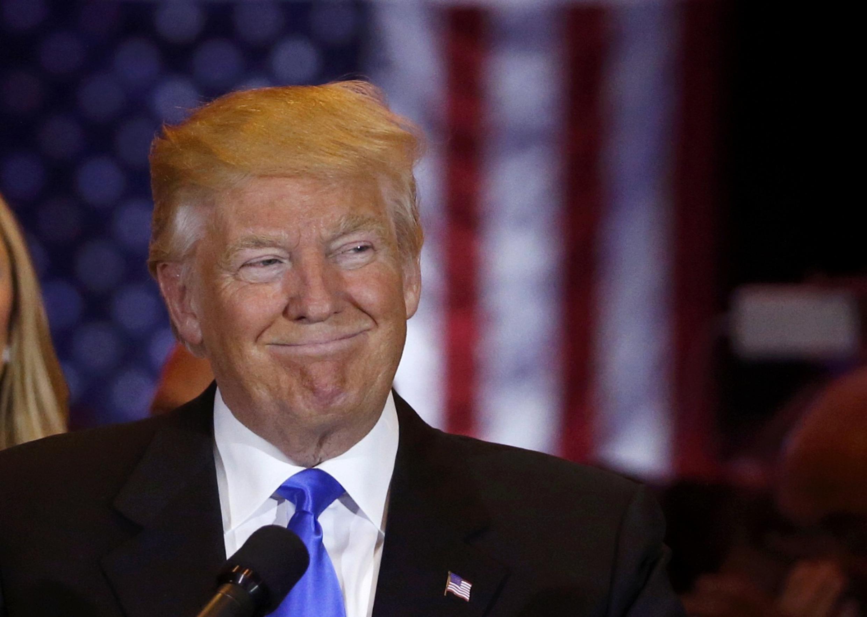 Donald Trump évoquant ses résultats dans l'Indiana à ses sympathisants. Le 3 mai 2016 à Manhattan, New-York.
