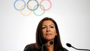 Anne Hidalgo, maire de Paris, lors d'un discours en faveur de la candidature de Paris pour les JO 2024. Photo datée du 3 février 2017.