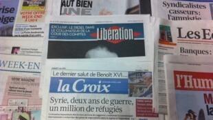 Primeiras páginas diários franceses 1/3/2013