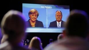 Imagem do debate de 1 de setembro na TV alemã entre Angela Merkel e Peer Steinbrück