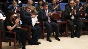 Los presidentes Cristina Fernández, Lula da Silva, Santos y Lugo, durante la Cumbre de Unasur en Guyana.