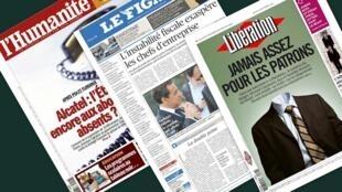 Capa dos jornais franceses L'Humanité, Le Figaro e Libération desta quinta-feira 10 de outubro de 2013
