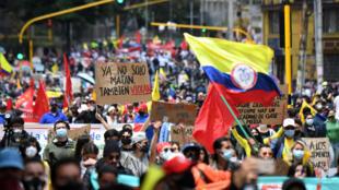 Manifestación contra una reforma tributaria del gobierno de Colombia, el 1 de mayo de 2021, en Bogotá