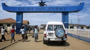Poste-frontière d'Aflao, entre le Ghana et le Togo.