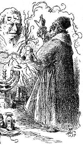 El rabino Loew dándole vida al Golem.