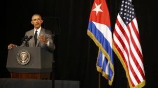 باراک اوباما، رئیس جمهوری آمریکا، در «تئاتر یزرگ» هاوانا، سه شنبه  ٢٢ مارس  ٢٠١٦