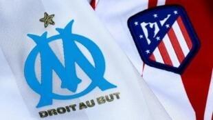 Les maillots de l'Olympique de Marseille et de l'Atlético Madrid, le 15 mai 2018
