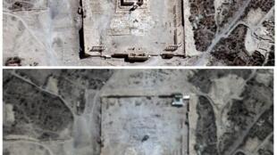 Hình ảnh chụp từ vệ tinh cho thấy đền Bêl, trước và sau vụ nổ.
