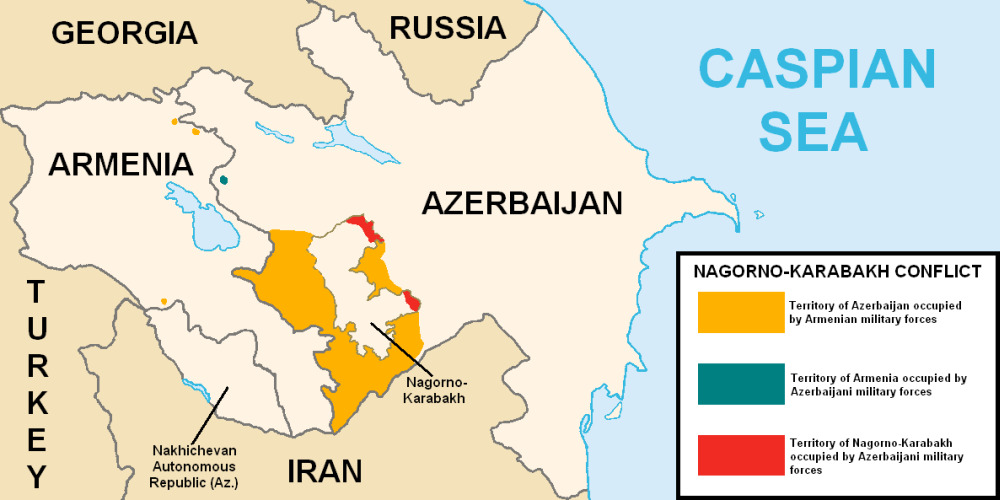 Map showing the conflict surrounding the Nagorno-Karabakh conflict.