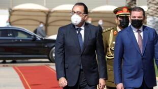 Le Premier ministre libyen Abdelhamid Dbeibah (à droite) a reçu son homologue égyptien Moustafa Madbouli, le 20 avril à Tripoli.