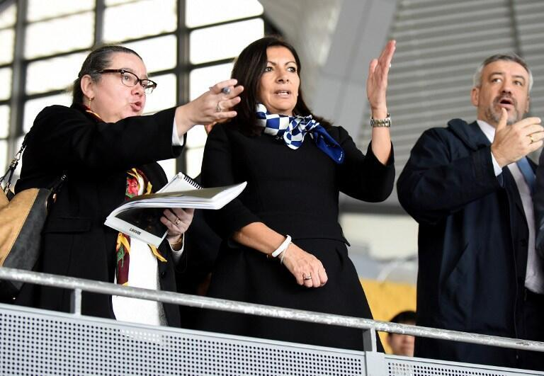 Paris Mayor Anne Hidalgo visits the Tatsumi International Swimming Pool which will be used for water polo venue during the Tokyo 2020 Olympic Games