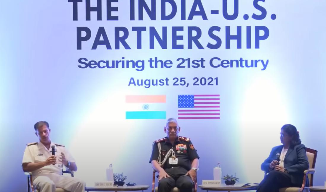 美国印太司令部司令阿奎利诺与印度国防参谋长拉瓦特参加论坛活动