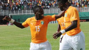 Max-Alain Gradel et Kolo Touré lors de la CAN 2015 en Guinée équatoriale.
