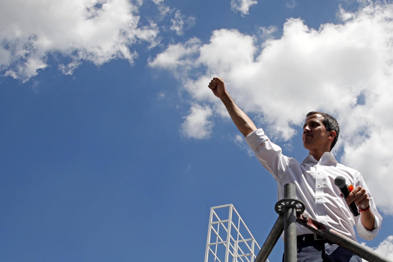 Tổng thống tự phong Venezuela Juan Guaido tại buổi mit-tinh ở Los Cortijos, đông bắc thủ đô Caracas, ngày 16/02/2019.