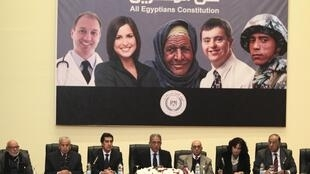 Egypt's constituent assembly Chairman Amr Moussa attends during a news conference in Cairo, 15 December 2013