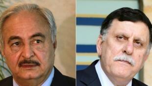 Le général Khalifa Haftar (G) et le président du Conseil libyen, Fayez al-Sarraj.