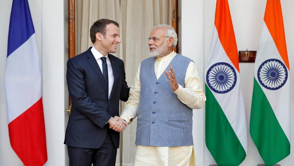 French President Emmanuel Macron and Indian PM Narendra Modi, shown here in New Delhi last year, are meeting in Paris on Thursday, 22 August 2019.