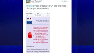 Comunicado do ministério do Interior sobre a retirada de um site extremista do ar.