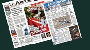Capa dos jornais franceses Les Echos, Liberation e Le Figaro desta segunda-feira, 8 de julho.