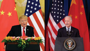 美国总统特朗普与民主党候选人拜登示意图